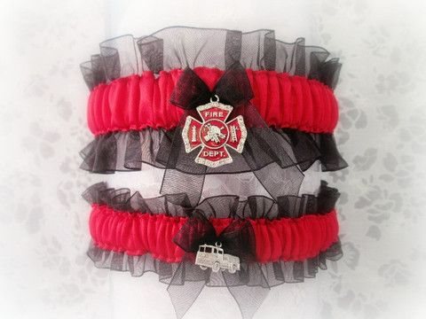 Light your man's fire with this hand crafted garter gift set made with red satin and black organza. The charm on the keepsake garter is a beautiful Maltese Cross. PLEASE READ THIS ABOUT SIZING: The si