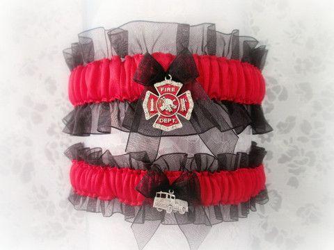Firefighter Wedding Garter Set - Fireman Wedding Garters. – Creative Garters