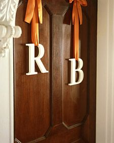 Hang your initial with a ribbon on the doors of the ceremony and/or reception hall.: The Doors, Wedding Ideas, Ribbons, Wedding Photo, Front Doors, Bridal Shower, Monograms, Wedding Ceremony, Diy Wedding Decor