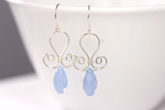 Light Blue Swarovski Earrings Wire Wrapped by JessicaLuuJewelry