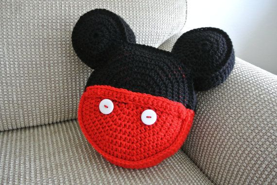 Crochet pillow Mickey Mouse inspired icon by MorganBrynDesigns, $32.00