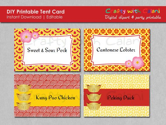 Chinese New Year Party Printable Editable Food by CraftywithCalani, $4.38