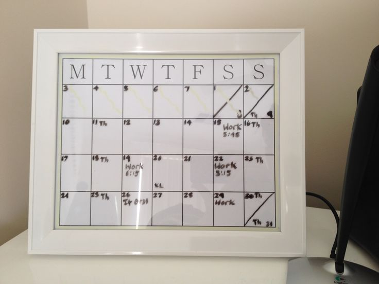 A DIY calendar I made for my desk.  I got a white frame, made a table in Microsoft Word, printed it out and inserted it into the frame. Then you can write on the glass with a whiteboard marker.