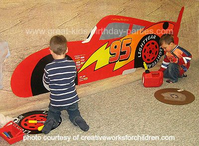 Disney Cars Birthday Party Lightning McQueen scavenger hunt for parts - or search for characters??