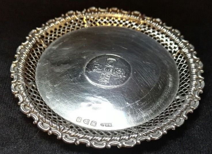 Victorian hallmarked solid silver coaster pierced rim mid18th century Shilling