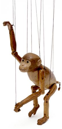 Wooden Marionette Puppets | Monkey marionette, carved wood, Gair Wilkinson, England, 1920s. Museum ...