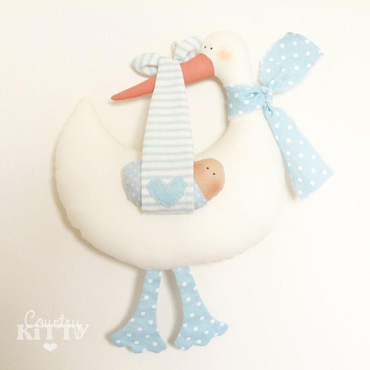 Blu+di+cicogna+softie+neonato+decorazione++di+CountrykittyHandmade,+£25,00