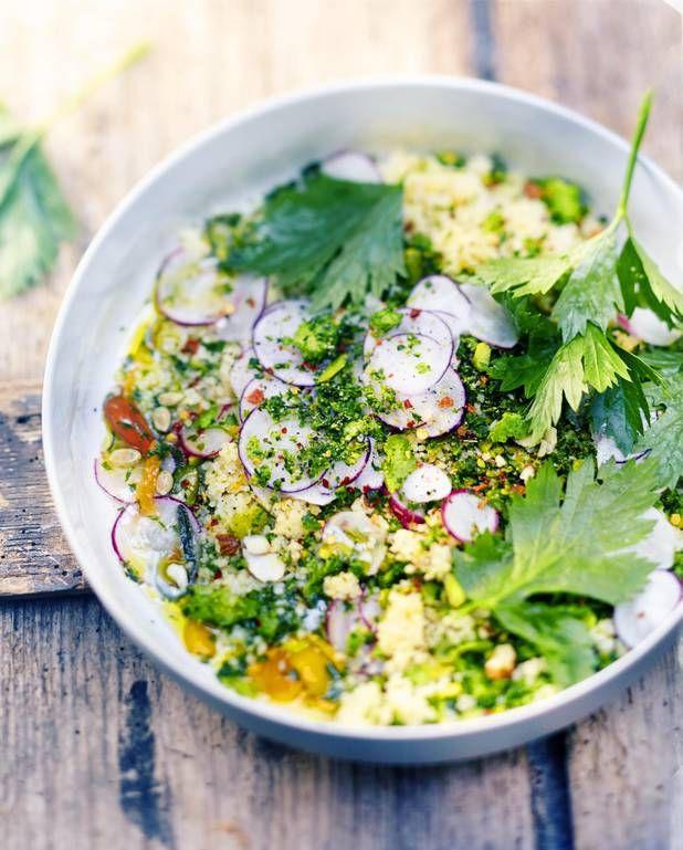 Couscous végétal, gremolata, persil, amandes et graines pour 6 personnes…