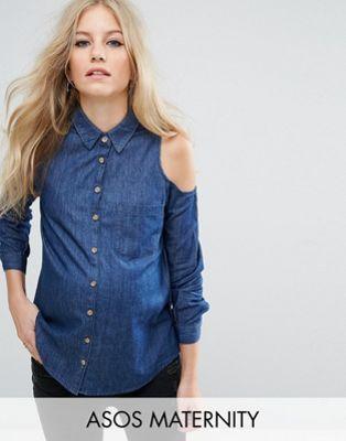 ASOS Maternity - Camicia di jeans blu scuro slavato con spalle scoperte