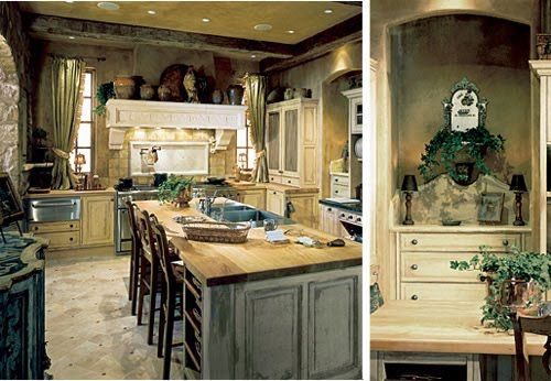 FRENCH KITCHEN WITH BLUE WOOD