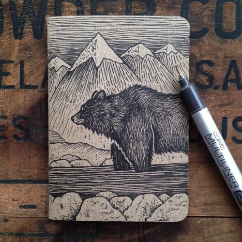 Oh, my. Definitely one of my favorite of Sam Larson's work. steelbison: The pocket notebooks with original sketches on them will be added to my store on Wednesday. #bear #illustration