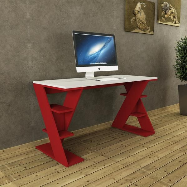 Ukbeautifully Designed Papillon Desk In White And Red Perfect