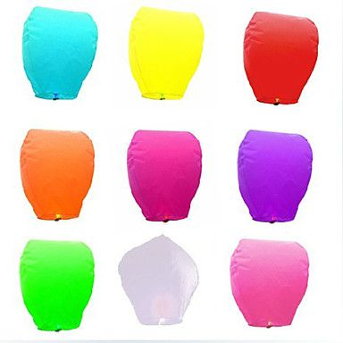 Chinese Fire Flying Sky Paper Kongming Floating Lantern Wedding Wishing With Candle(More Colors) - Set of 6 - USD $ 6.99