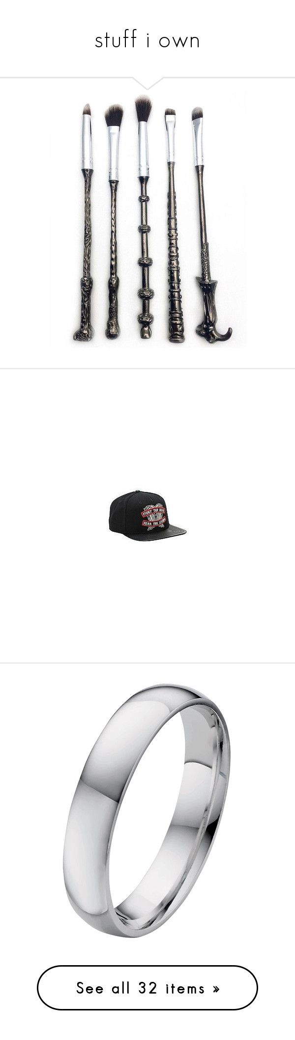 """""""stuff i own"""" by j-j-fandoms ❤ liked on Polyvore featuring beauty products, makeup, makeup tools, makeup brushes, accessories, hats, hot topic hats, snapback hats, hot topic and snap back hats"""