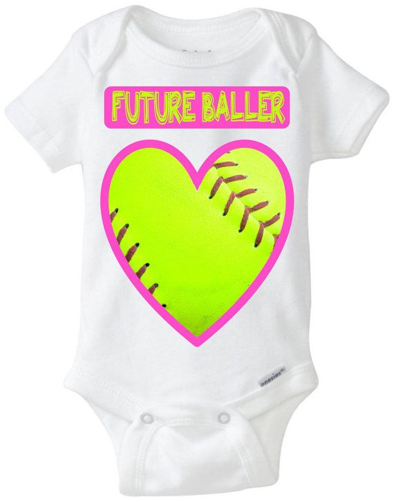 """Funny Baby Gift: """"Future Baller"""" Softball Heart Valentines Day Baby Shirt! Sports Baby Girl! Embellished Gerber Onesie brand body suit on Etsy, $22.71 CAD"""