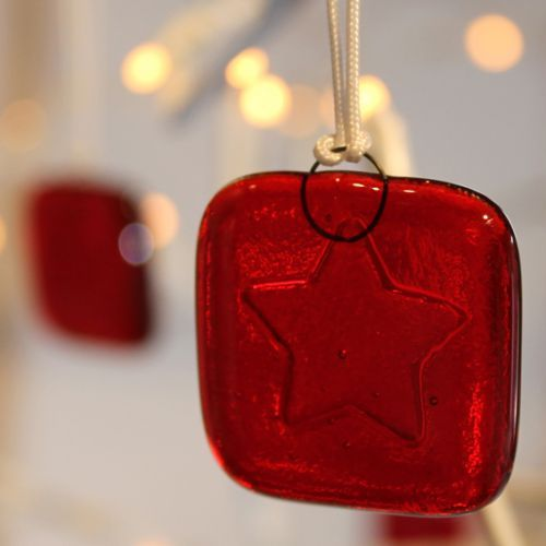 Kiln carved ornaments 'Stars' set of 5 glass Christmas tree decorations
