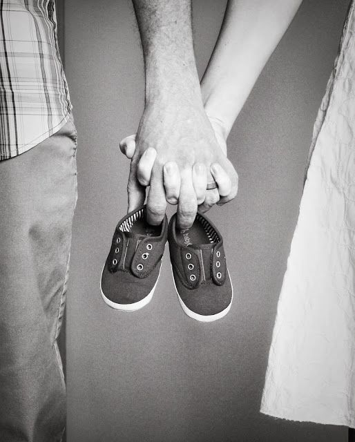 Pregnancy announcement? Maybe tennis shoes for a boy and little heels or fancy flats for a girl?