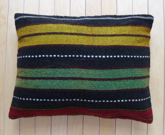 Throw pillow with stripes Lumbar Pillow cover by PillowTalkOnEtsy, $22.00