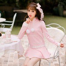 Doce princesa Casaco de lã cor de rosa Doce Rendas decoração pompons com chapéu de chuva decalques Urso bolso Doce Japonês projeto C16CD6180(China (Mainland))