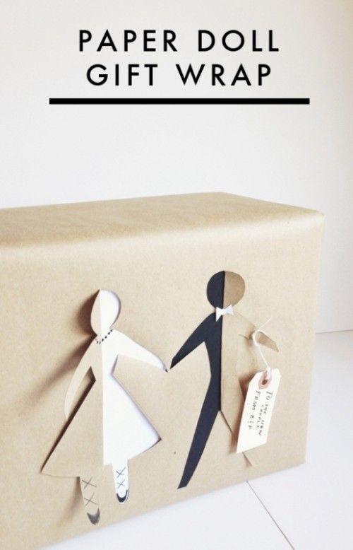 the cutest diy paper doll bridal gift wrap...