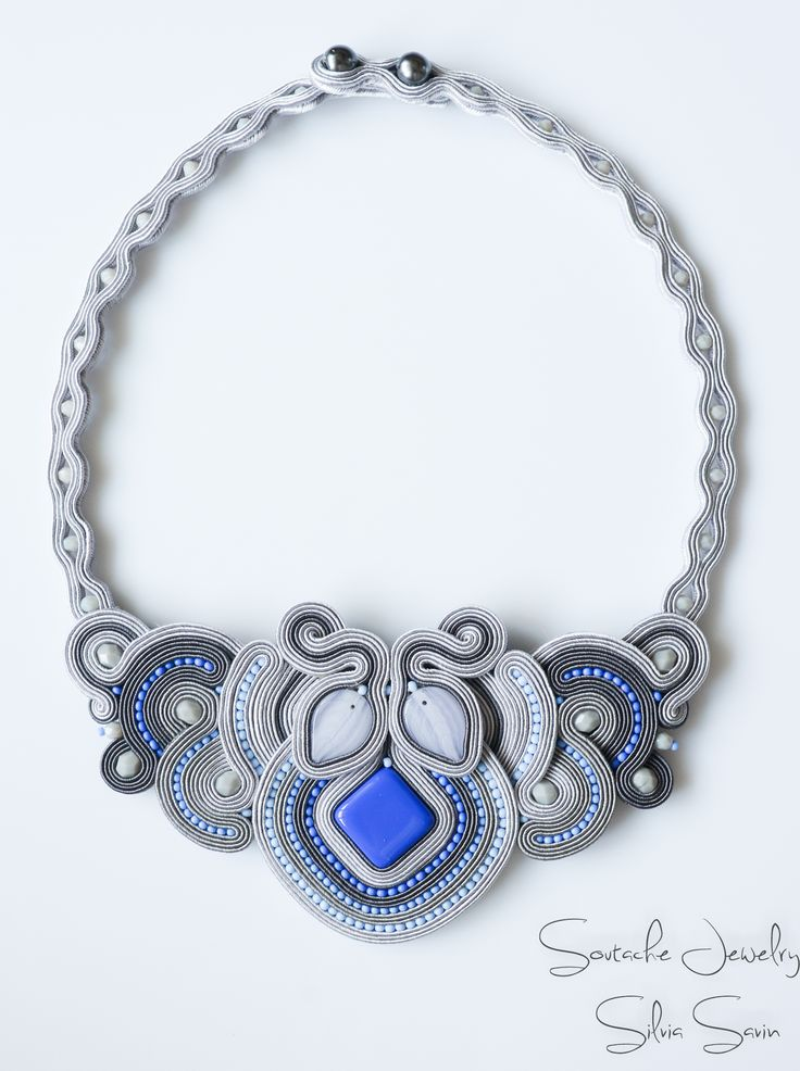 Shades of Grey and Blue Soutache necklace with Preciosa beads
