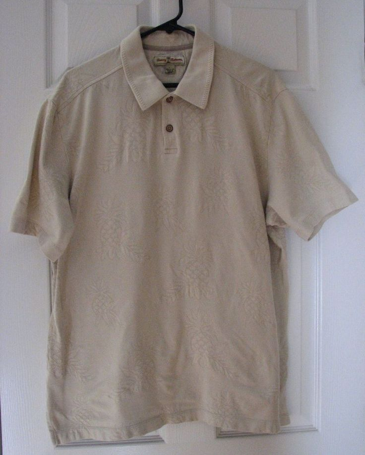 Tommy Bahama Men Short Sleeve Polo Beige Tan Pineapple L 100% Cotton Beach  #TommyBahama #PoloRugby