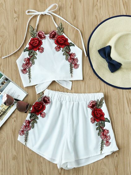 Rose Applique pajarita Open Back Top y pantalones cortos Set