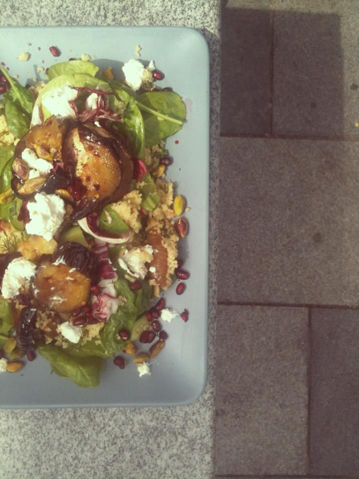 couscous with grilled aubergine, pistachio, spinach, goat's cheese ...