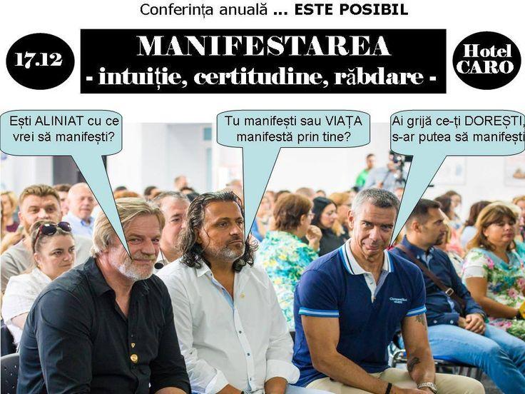 """Proiectul ESTE POSIBIL organizat de Gabriel Salman a inclus un șir de conferințe în țară și de emisiuni TV, programe de antrenament și întâlniri cu diferite comunități. Ziua de 17 Decembrie integrează acest pas prin intermediul primei Conferință anuale ESTE POSIBIL.  Tema  aleasă se va numi """"MANIFESTAREA – intuiție, certitudine, răbdare"""". Gabriel, Salman, Bruno Medicina și Vasile Paun  #GabrielSalman #BrunoMedicina #VasilePaun"""