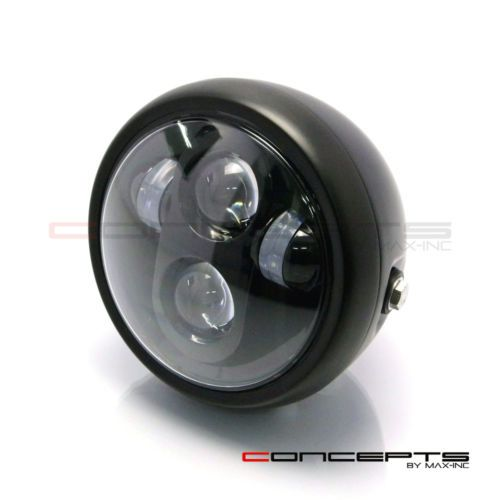 6-INCH-Matte-Black-Quad-LED-Projector-Cafe-Racer-Metal-Headlight
