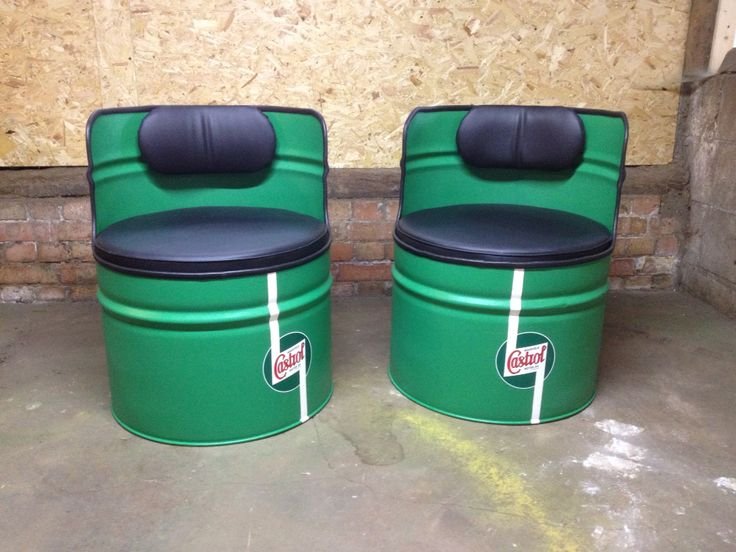 Upcycled oil drums turned into seats in original castrol colours