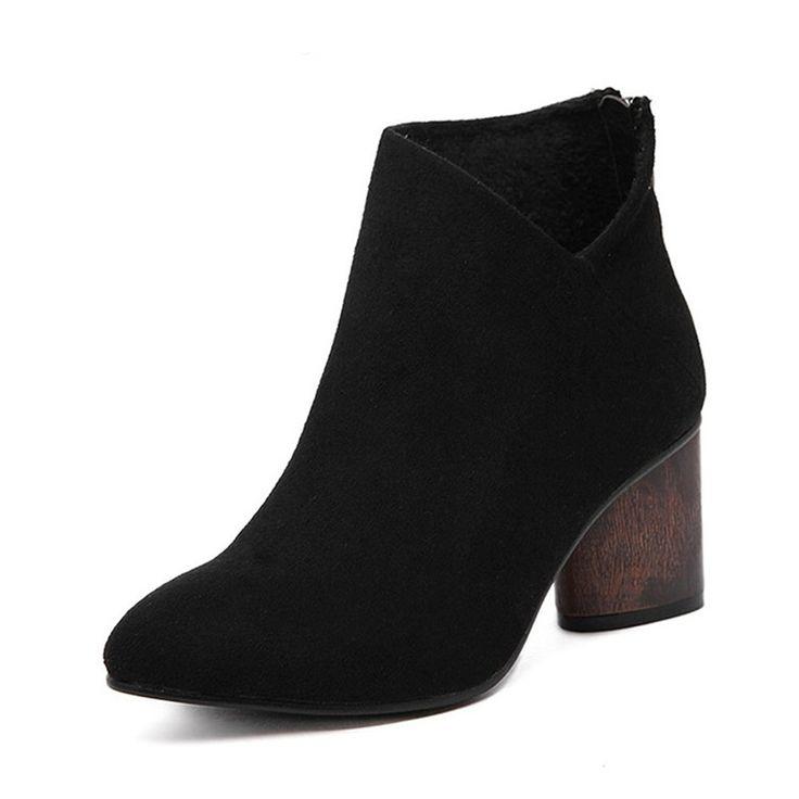 Women's Lightweight Solid Pointy Toe Flat Sole Back Zipper Wedge Heel Short Boots