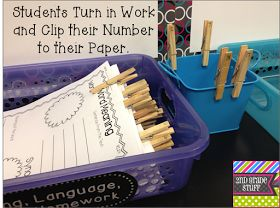 Student Work Management (Add clothespins with numbers so you can identify those who have not turned in their work or have not written their name.)