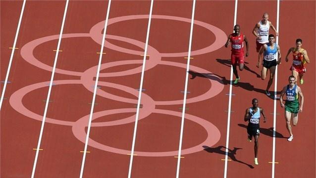 Nijel Amos of Botswana leads the field in one of the men's 800m heats.