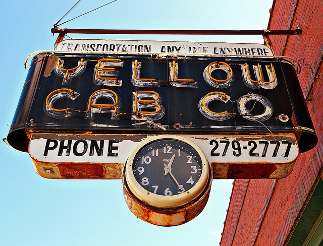 Yellow Cab Co ~ Iconic Neon Sign & Clock