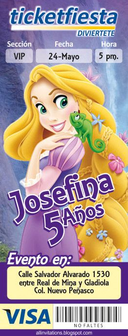 Plantilla de Invitación tipo Ticketmaster con el tema de la Princesa Rapunzel
