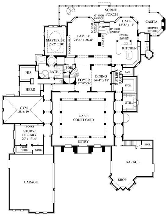 Spanish style home floor plans dream house pinterest for Spanish style home floor plans