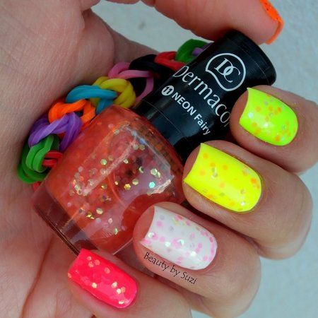 Dermacol Neon Rainbow, 11 Neon Fairy #neons #colorful #nailart #nails #polish #mani - Share/explore more nail looks at bellashoot.com!