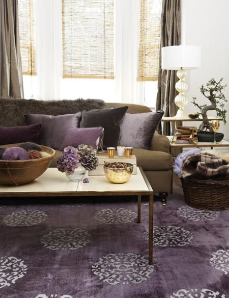 Feng Shui Weath Area: CARPET U0026 PILLOWS Modern Living Room With Purple Rug,  Chocolate Brown Sofa Couch, Purple Cushions And Brown Curtains Gunna Try  This In ...