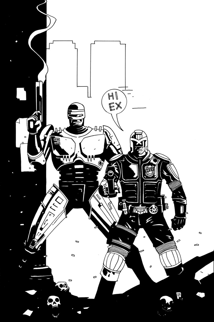 DREDD AND ROBOCOP INKS by future-parker.deviantart.com    #robocop #judgedredd #darkhorse #comics #mikemignola #lukeparker