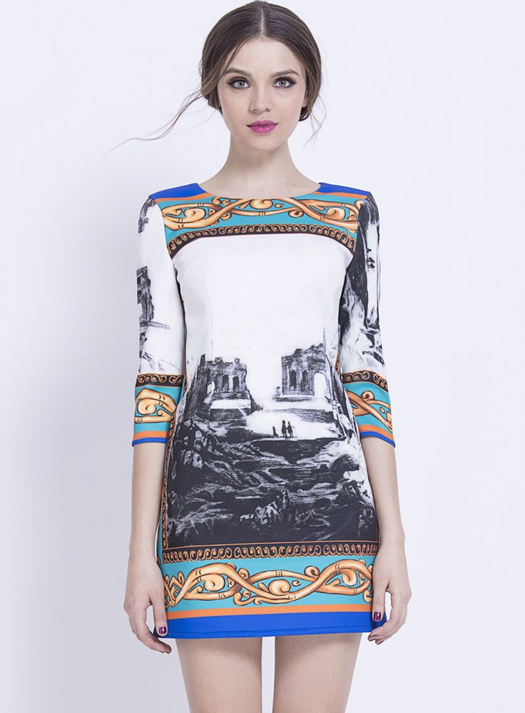 White Half Sleeve Vintage Print Bodycon Dress $52.5