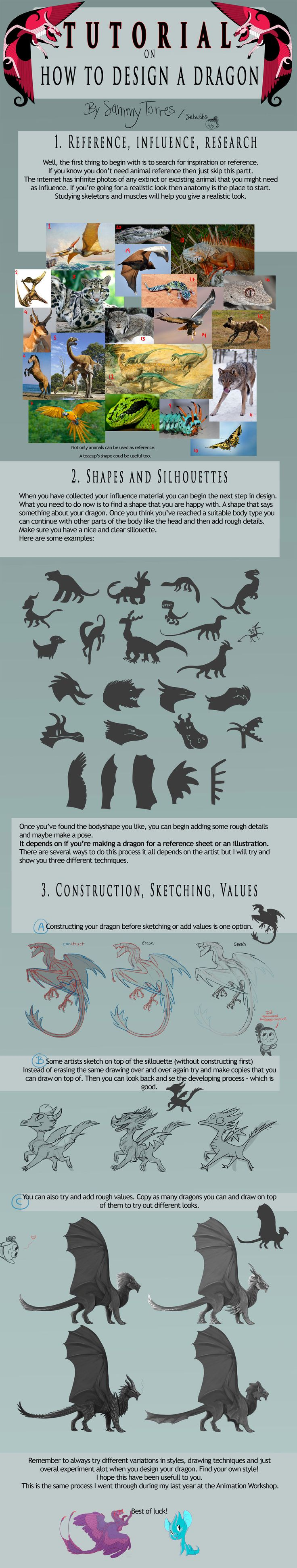 TUTORIAL: How to Design a Dragon by SammyTorres  — Fantasy character design
