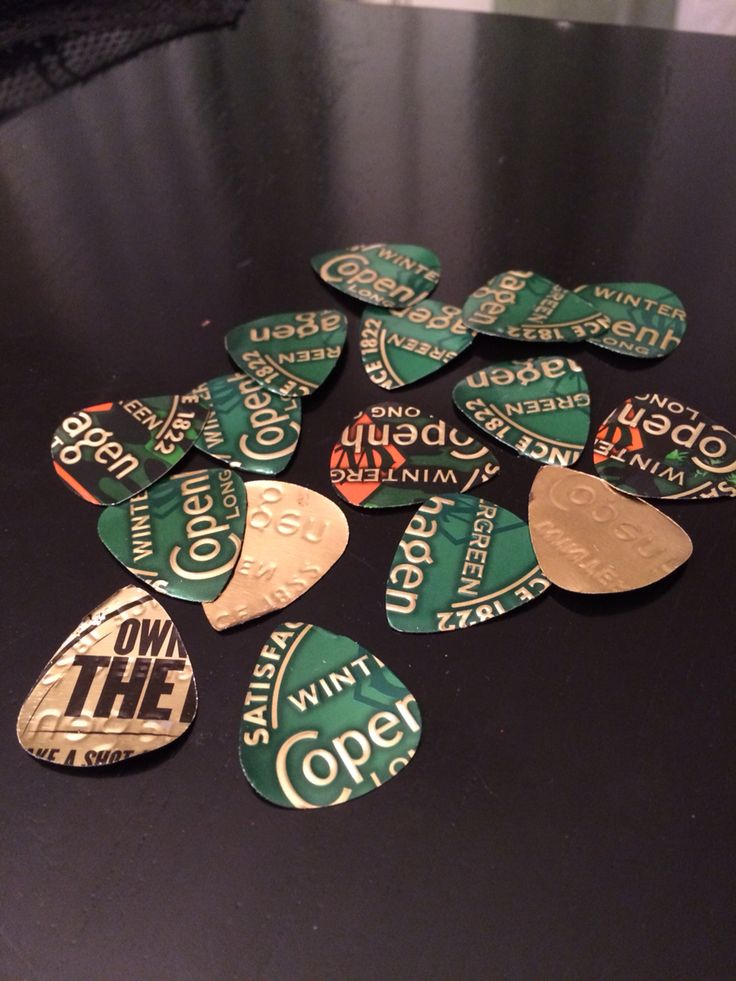 Guitar Picked made out of actual Copenhagen Lids!! Awesome. Rednecks Dream Gift!!