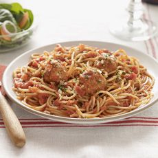 Jenny's Cuisine: Spaghetti with Meatballs - Mamma mia!  Talk about tasting like homemade! Multi-grain pasta with perfectly seasoned mouthwatering meatballs smothered in a zesty tomato sauce, topped with Romano and mozzarella cheese.