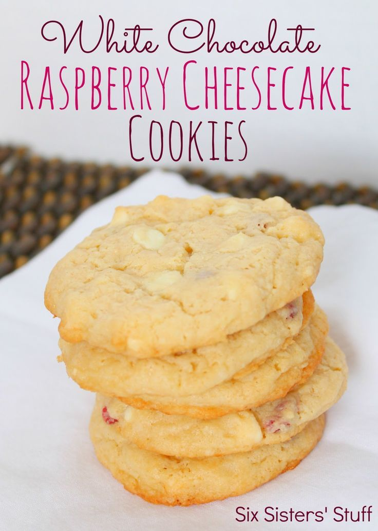 White Chocolate Raspberry Cheesecake Cookies from SixSistersStuff.com.  #cookies #recipes #dessert
