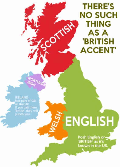 theres no such thing as a british accent and unlike