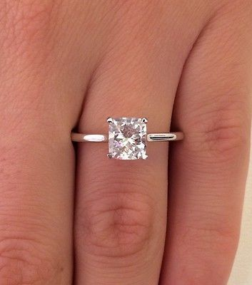 1.00 CT CUSHION CUT D/SI1 DIAMOND SOLITAIRE ENGAGEMENT RING 14K WHITE GOLD - EXCLUSIVE DEAL! BUY NOW ONLY $1356.0