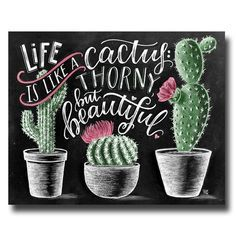 Cactus stampa, succulenti stampa, stampa artistica di Cactus, Cactus Wall Art, vita è come un Cactus, Cactus arredamento, arte del gesso, lavagna Art,