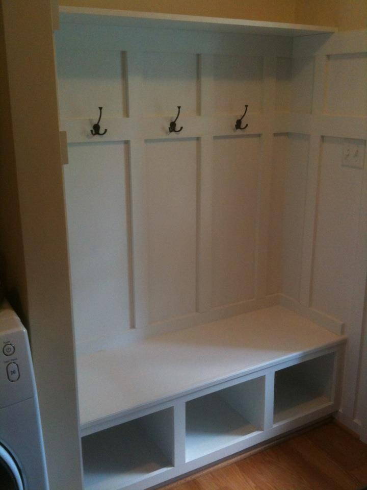 Bench and coat hooks i built in my mudroom mudroom Mudroom bench and hooks