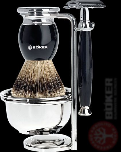 Boker - Deluxe Double Edge Safety Razor and Brush set Best thing for women to shave their legs. Also more economical.